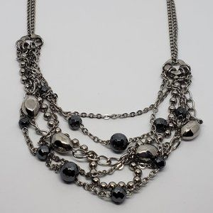 Milor Silver Tone Layered Necklace Black Beads